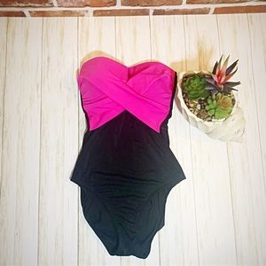 Gottex colorblock pink strapless one piece s